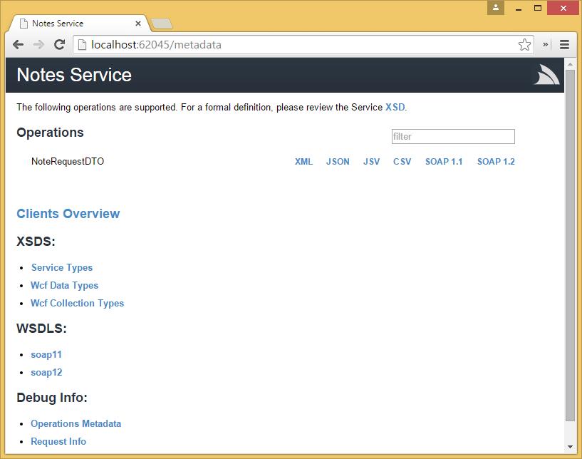 metadata of service